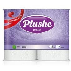 Туалетная бумага Plushe Deluxe 4 рул. по 20 м, 3 слоя, белый, 10 в упак