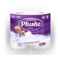Туалетная бумага Plushe Classic 4 рул. по 18 м, 2 слоя, белая, 12 в упак